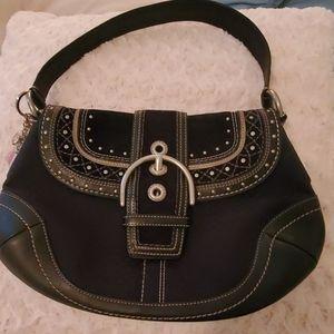 Coach black and silver hobo bag